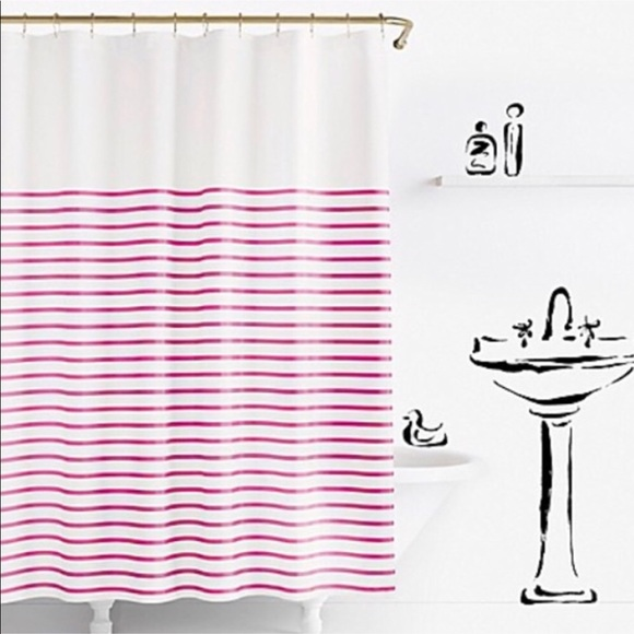 NWT Kate Spade Harbor Pink Stripe Shower Curtain